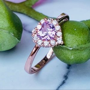 Yellow gold over 925 Pink CZ Heart stone Size 2.5